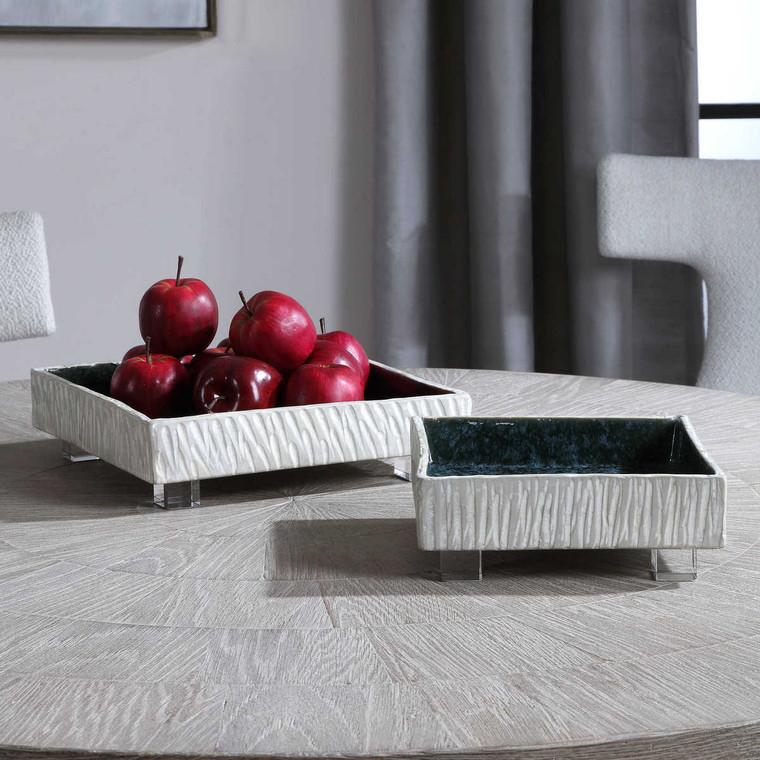Ambretta Square Bowls Set/2 - Size: 9H x 30W x 30D (cm)