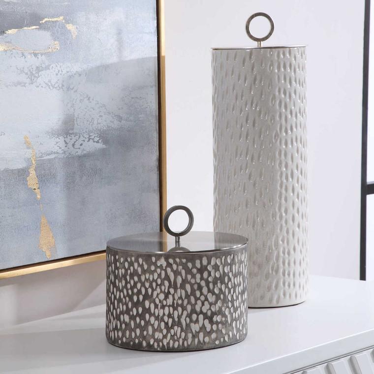 Cyprien Ceramic Containers Set/2 - Size: 49H x 15W x 15D (cm)