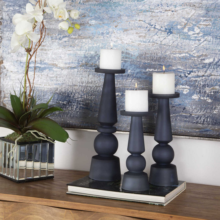 Cassiopeia Blue Glass Candleholders Set/3 - Size: 38H x 11W x 11D (cm)