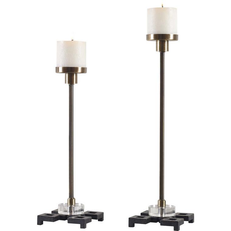 Montag Brass Candleholders Set/2 - Size: 47H x 13W x 13D (cm)