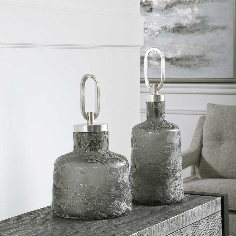 Storm Art Glass Bottles Set/2 - Size: 44H x 16W x 16D (cm)