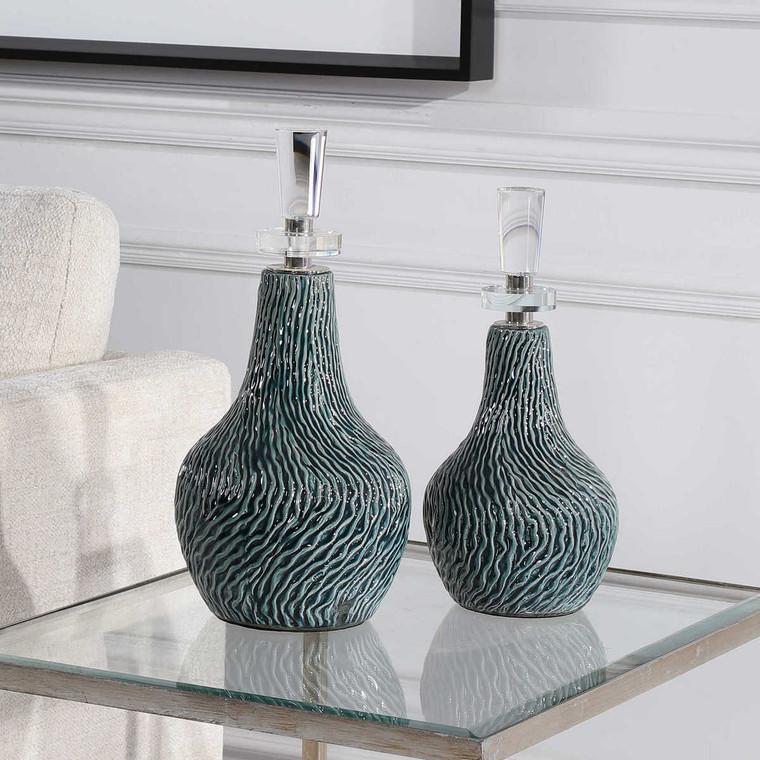 Almera Dark Teal Bottles Set/2 - Size: 39H x 19W x 19D (cm)