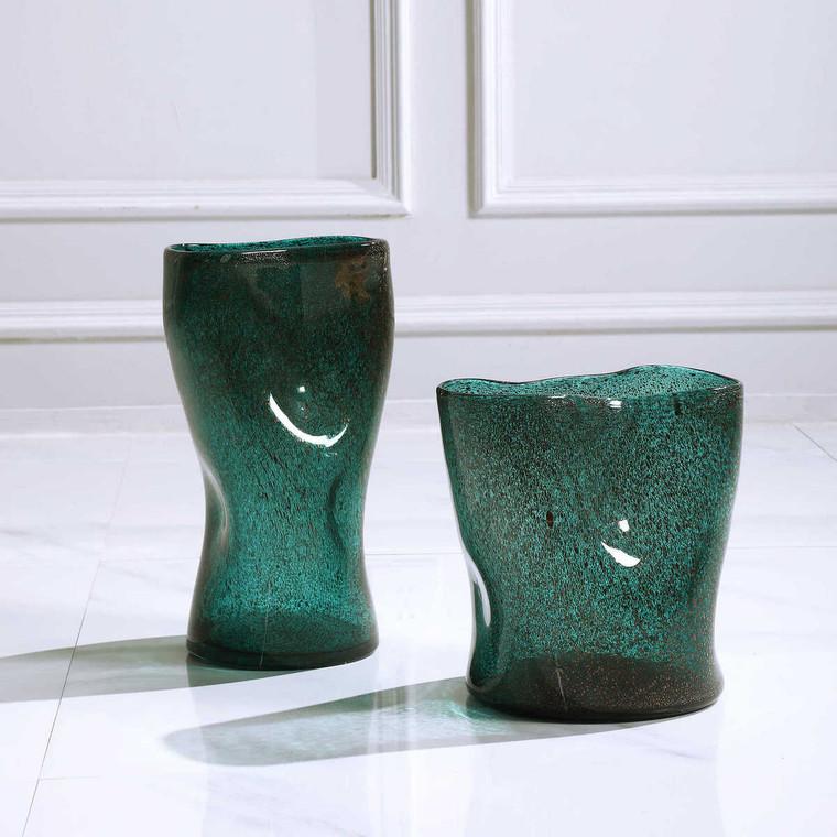 Lulu Aqua Glass Vases Set/2 - Size: 34H x 18W x 11D (cm)