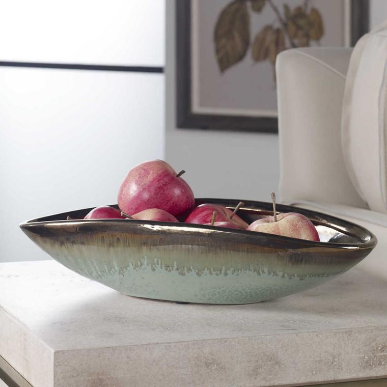 Iroquois Green Glaze Bowl - Size: 9H x 40W x 19D (cm)