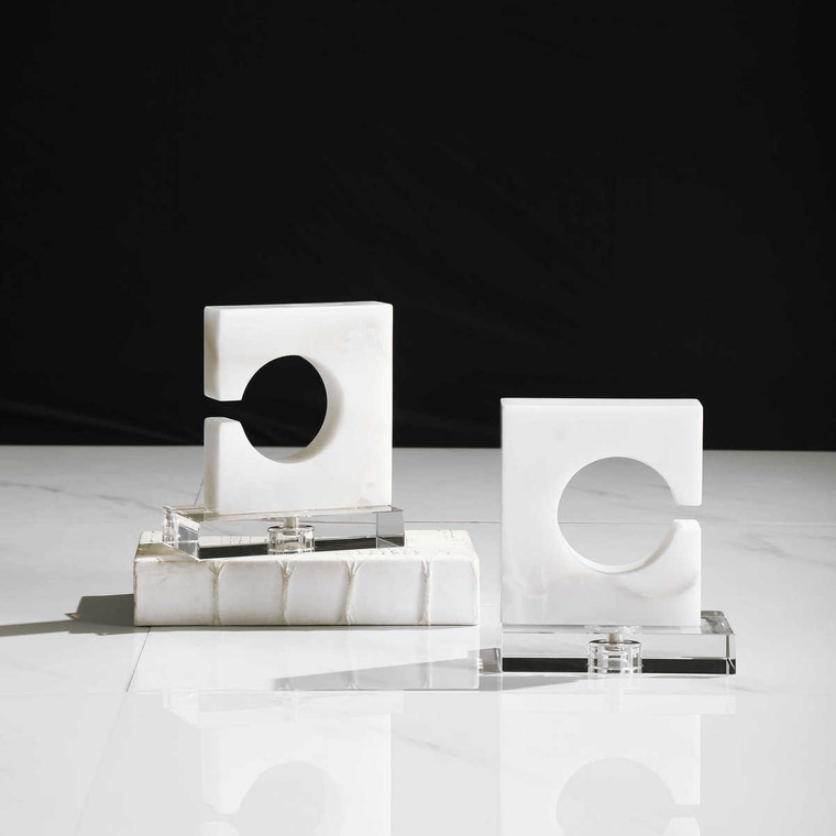 Clarin White & Gray Bookends Set/2 - Size: 20H x 18W x 10D (cm)