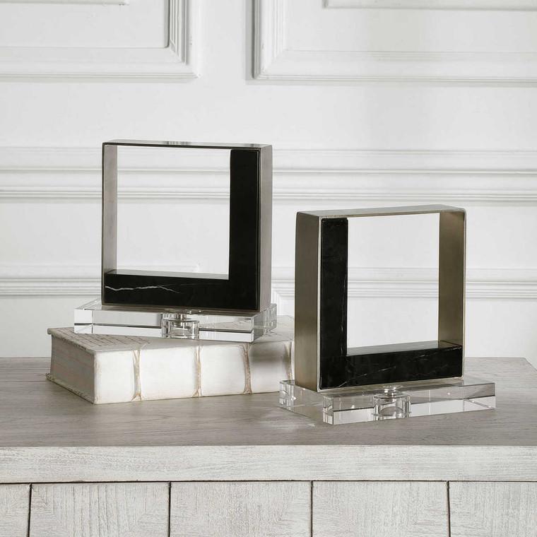 Tilman Modern Marble Bookends Set/2 - Size: 20H x 19W x 10D (cm)