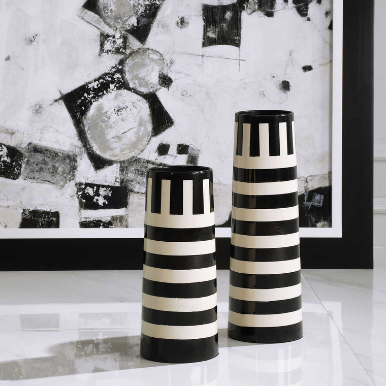 Amhara Black & White Vases Set/2 - Size: 46H x 15W x 15D (cm)