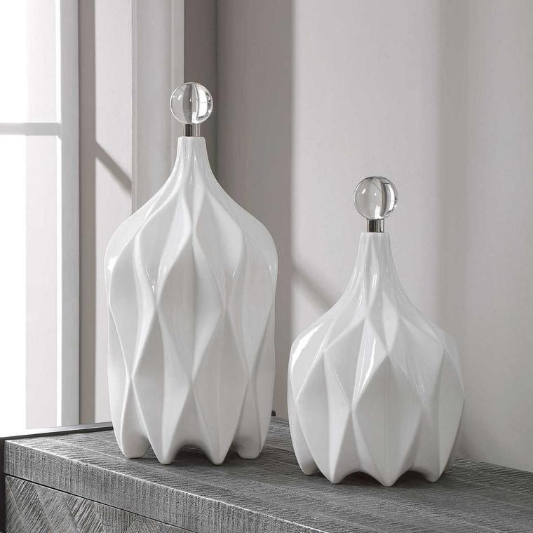 Klara White Bottles Set/2 - Size: 43H x 21W x 21D (cm)