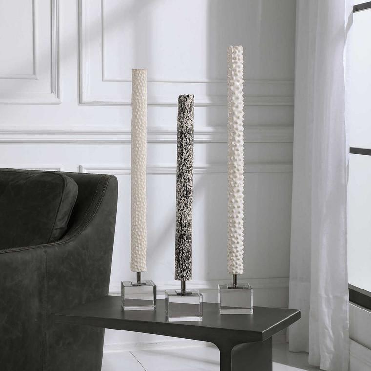 Makira Cylindrical Sculptures Set/3 - Size: 73H x 9W x 9D (cm)