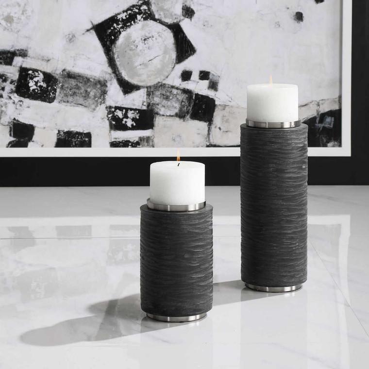 Strathmore Stone Gray Candleholders Set/2 - Size: 33H x 13W x 13D (cm)