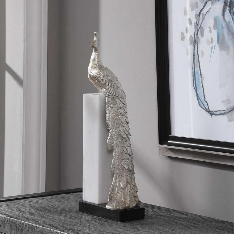 Overseer Peacock Sculpture - Size: 45H x 17W x 12D (cm)
