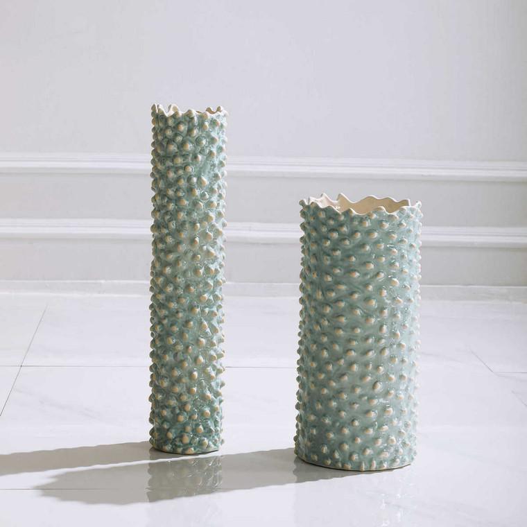 Ciji Aqua Ceramic Vases Set/2 - Size: 47H x 11W x 11D (cm)