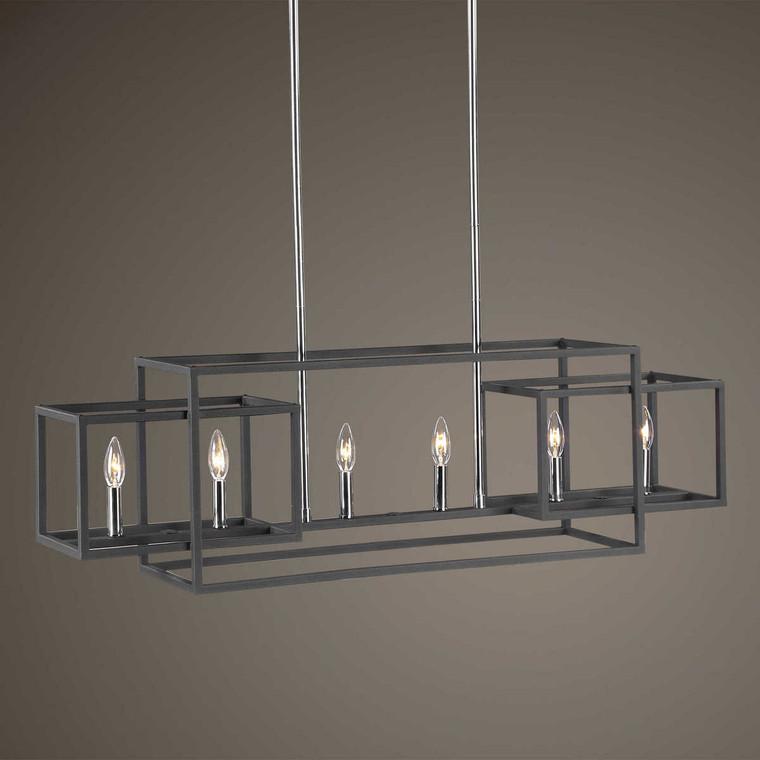 Quadrangle 6 Light Rectangular Chandelier - Size: 32H x 112W x 23D (cm)