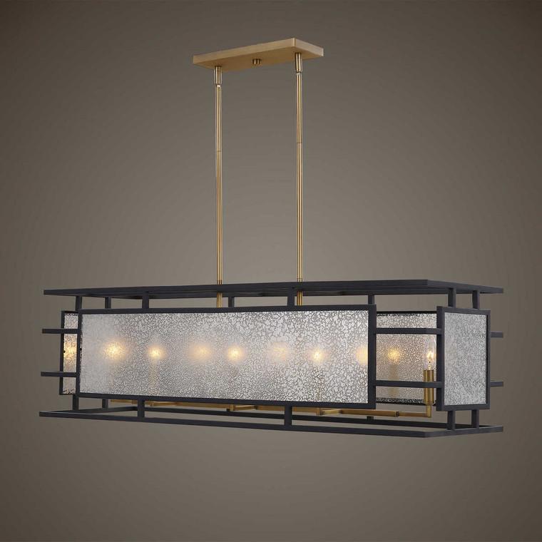Holmes 8 Light Linear Chandelier - Size: 33H x 107W x 33D (cm)