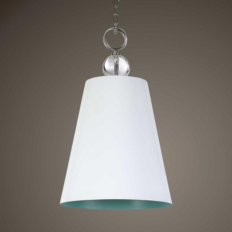 Delray White 1 Light Pendant - Size: 76H x 46W x 46D (cm)