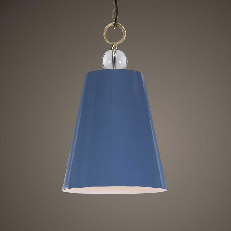 Delray Blue 1 Light Pendant - Size: 76H x 46W x 46D (cm)