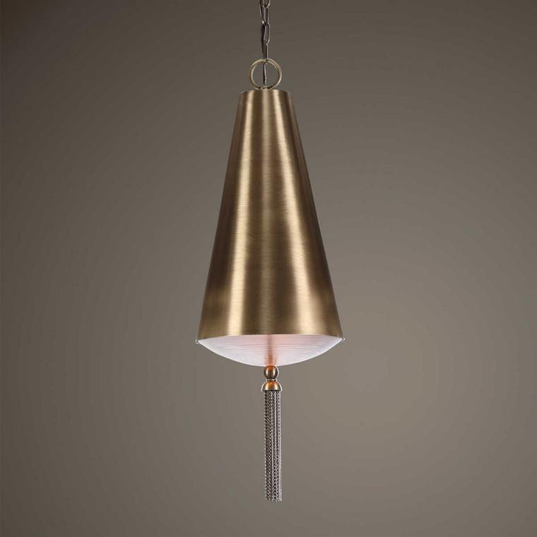 Nador 1 Light Brass Pendant - Size: 86H x 30W x 30D (cm)