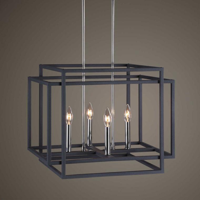 Quadrangle 4 Light Pendant - Size: 41H x 51W x 41D (cm)
