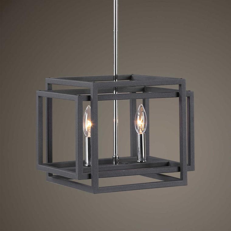 Quadrangle 2 Light Mini Pendant - Size: 25H x 32W x 25D (cm)