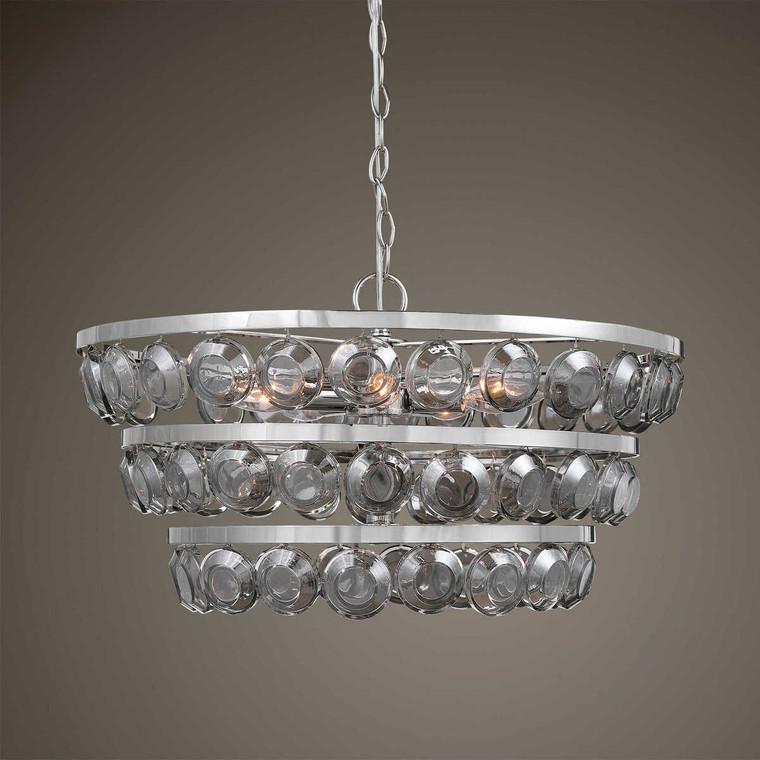 Twinkle 5 Light Nickel Chandelier - Size: 29H x 56W x 56D (cm)