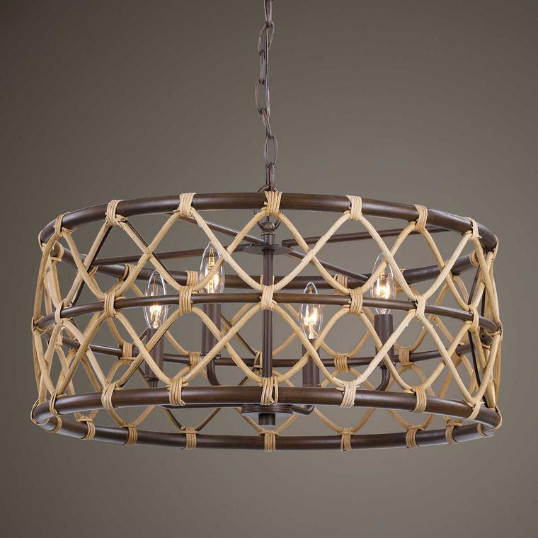 Hilo 4 Light Drum Pendant - Size: 30H x 56W x 56D (cm)
