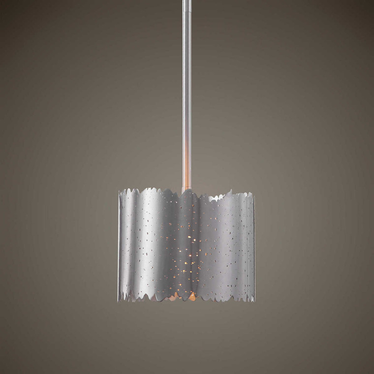 Baradla 1 Light Brushed Nickel Mini Pendant - Size: 22H x 23W x 23D (cm)