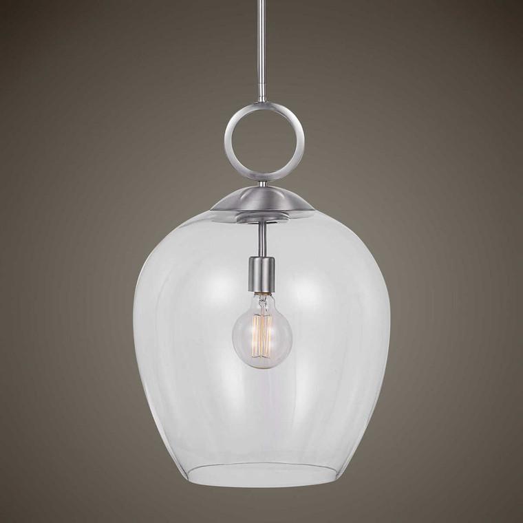 Calix Nickel 1 Light Glass Pendant - Size: 58H x 40W x 40D (cm)