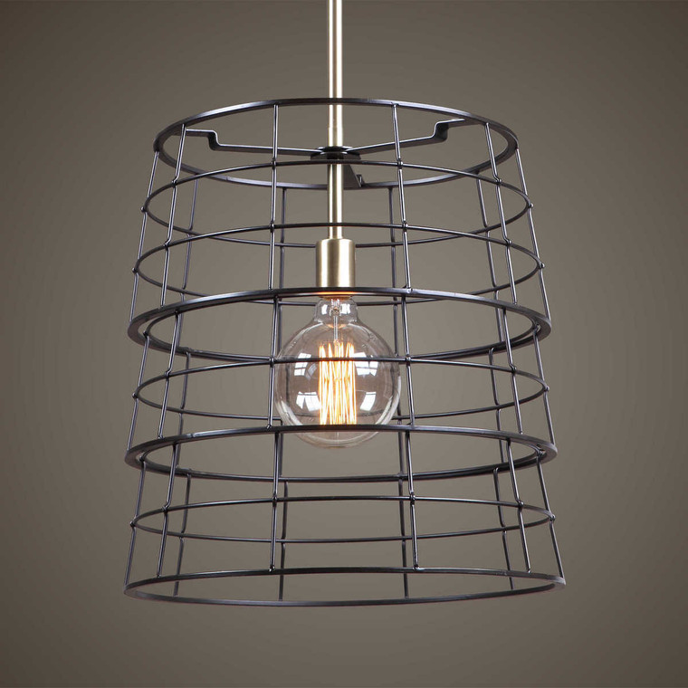 Grader 1 Light Cage Pendant - Size: 44H x 41W x 0D (cm)