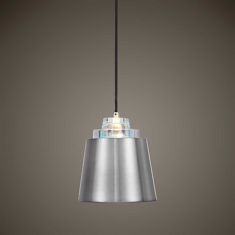 Pratt 1 Light Nickel Mini Pendant - Size: 26H x 23W x 0D (cm)