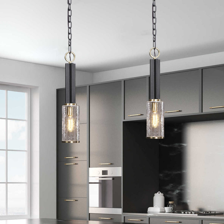 Jarsdel 1 Light Industrial Mini Pendant - Size: 59H x 11W x 0D (cm)