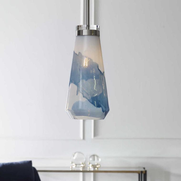 Windswept Blue & White 1 Light Mini Pendant - Size: 46H x 21W x 21D (cm)