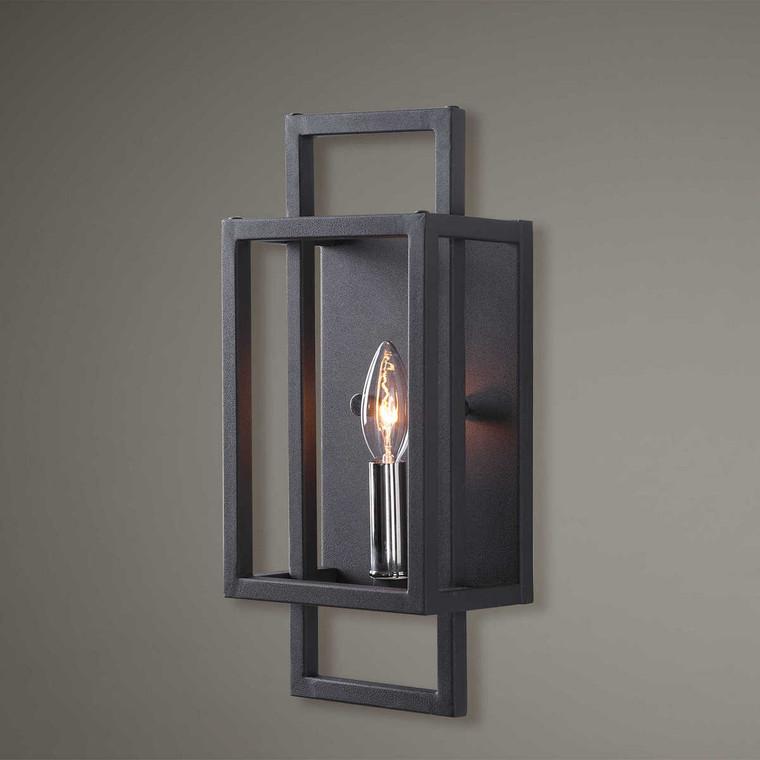 Quadrangle 1 Light Black Sconce - Size: 36H x 15W x 10D (cm)
