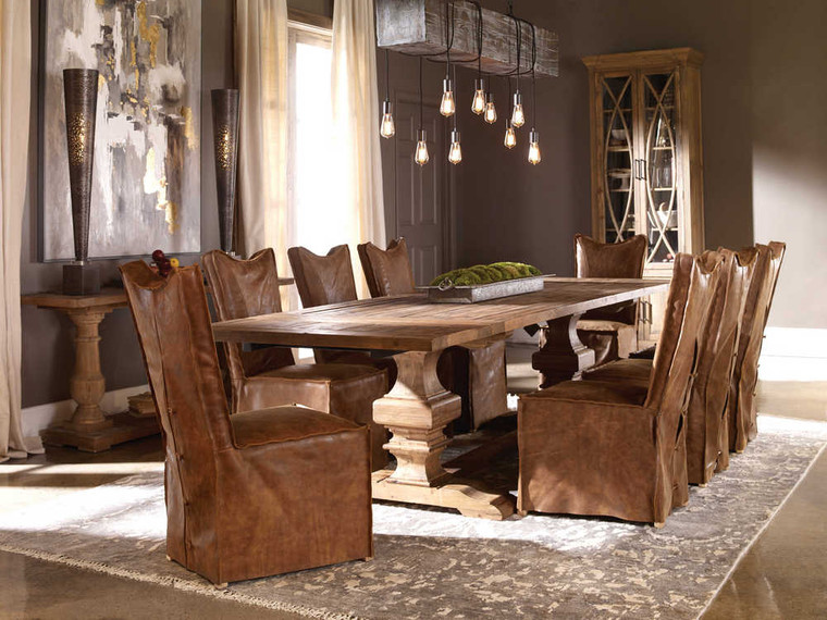 Delroy Armless Chairs Cognac Set/2 - Size: 102H x 50W x 66D (cm)