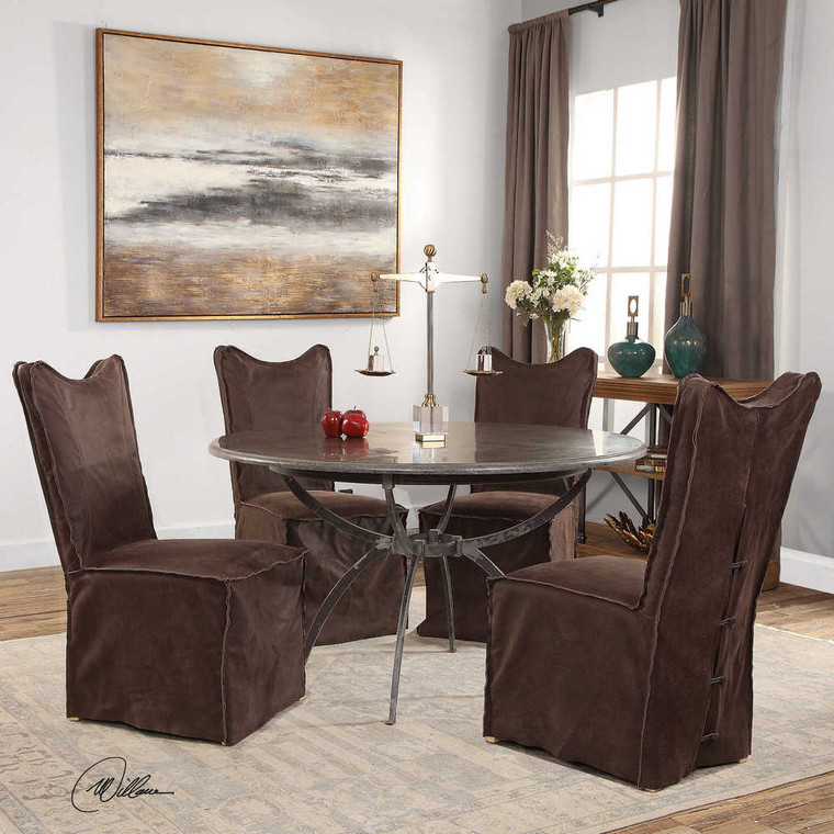 Delroy Armless Chairs Chocolate Set/2 - Size: 102H x 50W x 66D (cm)