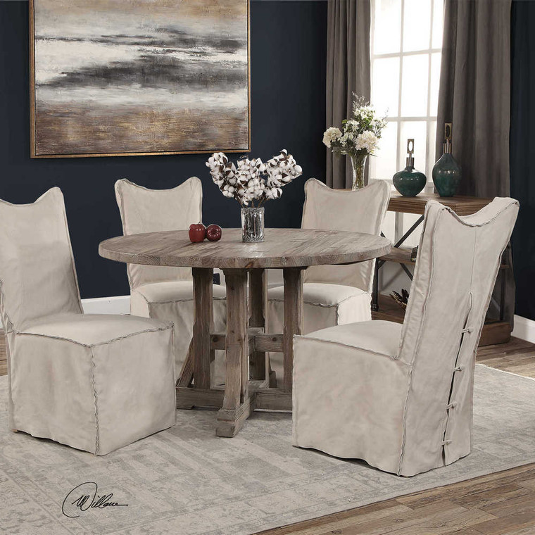 Delroy Armless Chairs Stone Ivory Set/2 - Size: 102H x 50W x 66D (cm)