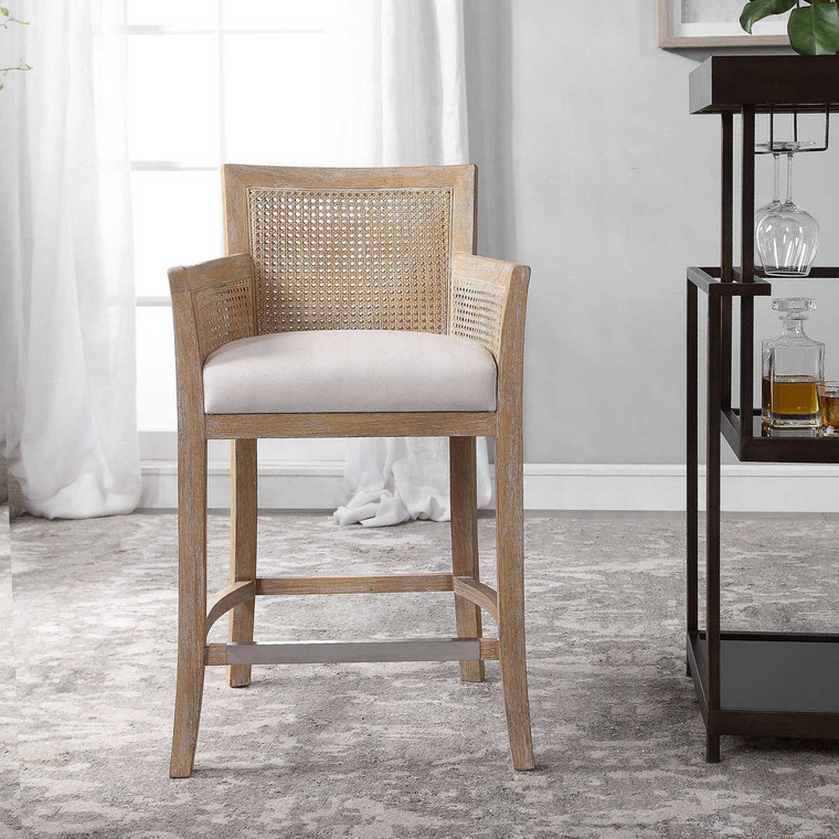 Encore Counter Stool Natural - Size: 97H x 57W x 57D (cm)