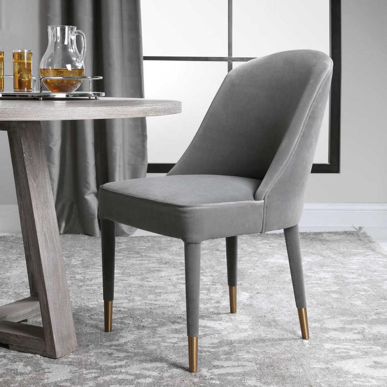 Brie Armless Chair Gray Set/2 - Size: 91H x 55W x 71D (cm)