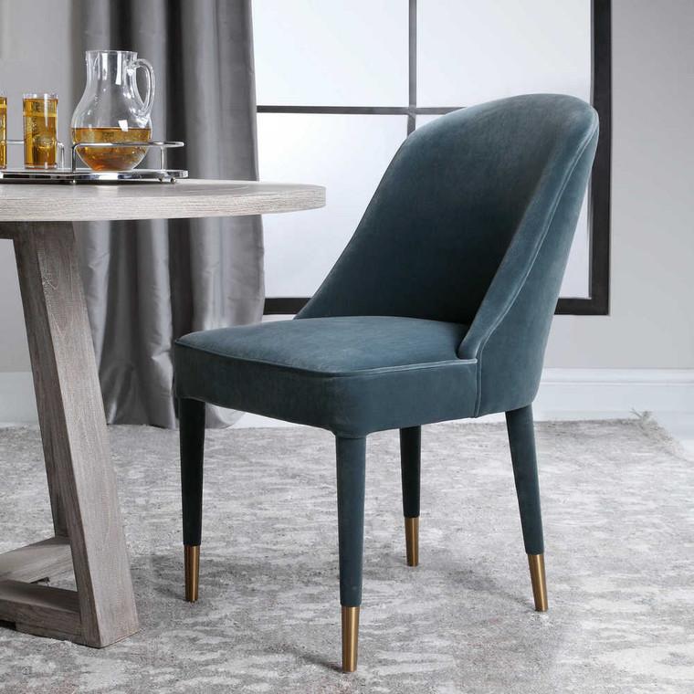 Brie Armless Chair Blue Set/2 - Size: 91H x 55W x 71D (cm)