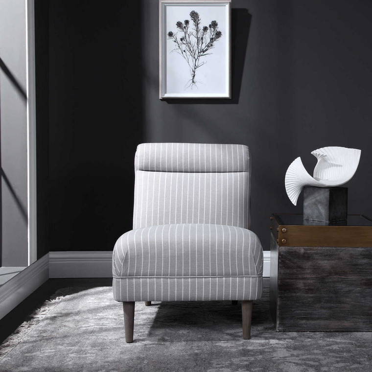 Grenada Light Gray Accent Chair - Size: 79H x 58W x 79D (cm)