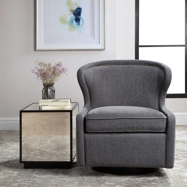 Biscay Swivel Chair - Size: 81H x 71W x 77D (cm)