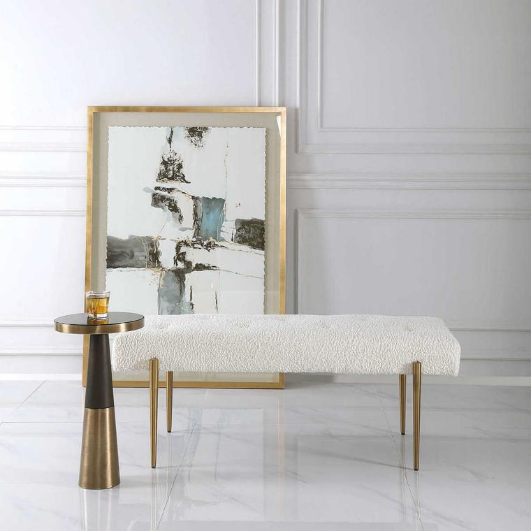 Olivier White Bench - Size: 48H x 126W x 51D (cm)