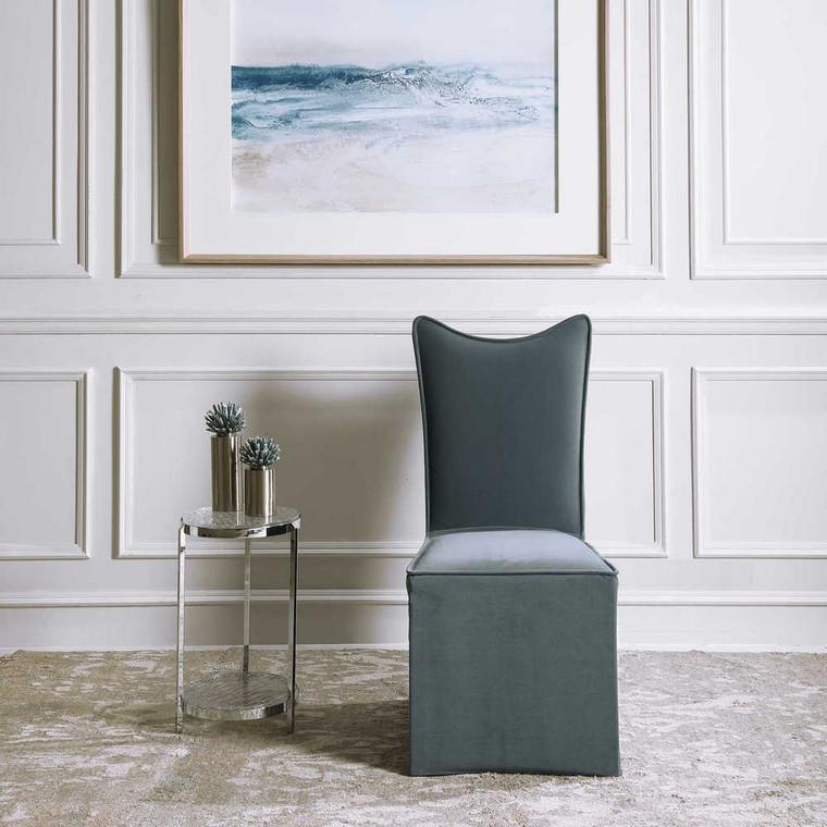 Delroy Armless Chair Gray Set/2 - Size: 102H x 48W x 66D (cm)