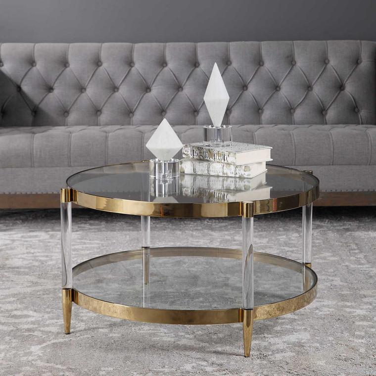 Kellen Glass Coffee Table - Size: 44H x 81W x 81D (cm)