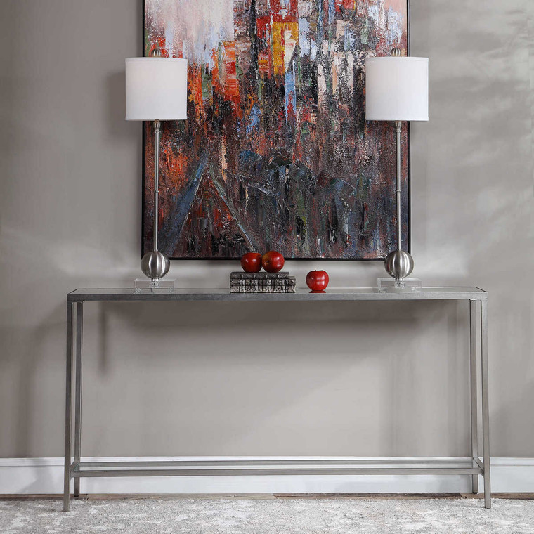 Hayley Silver Console Table - Size: 79H x 152W x 25D (cm)