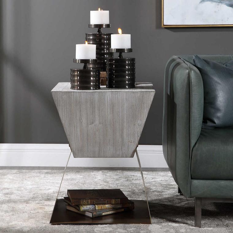 Joplin Gray Side Table - Size: 67H x 51W x 51D (cm)