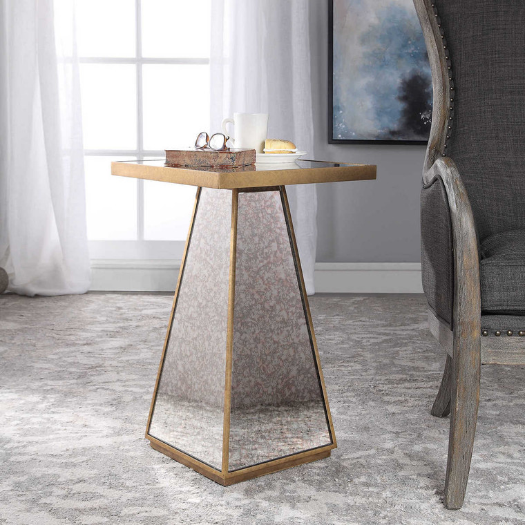 Atlee Mirrored Accent Table - Size: 64H x 41W x 41D (cm)