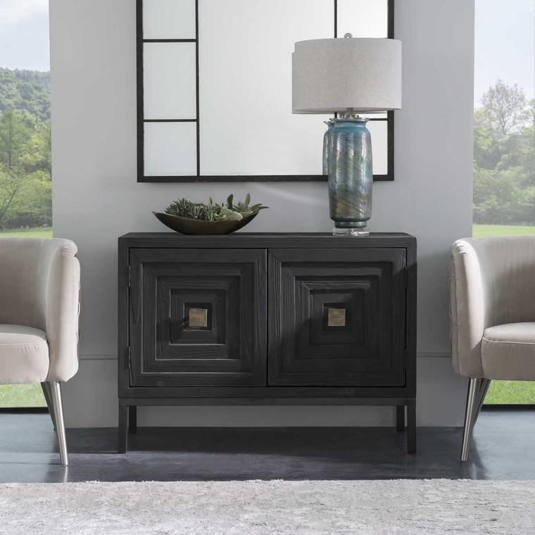 Aiken Dark Walnut 2 Door Cabinet - Size: 81H x 110W x 41D (cm)