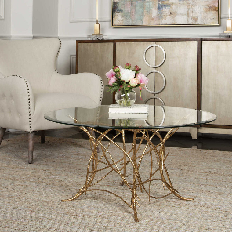 Amoret Glass Coffee Table - Size: 46H x 91W x 91D (cm)