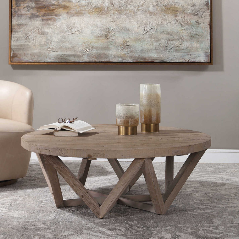 Kendry Reclaimed Wood Coffee Table - Size: 44H x 122W x 122D (cm)