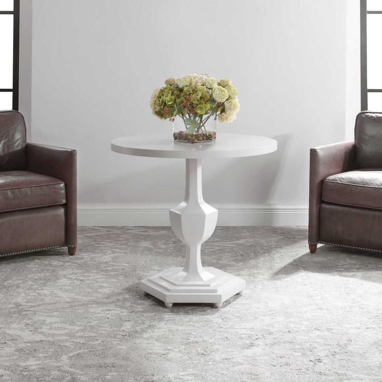 Kabarda White Foyer Table - Size: 76H x 81W x 81D (cm)